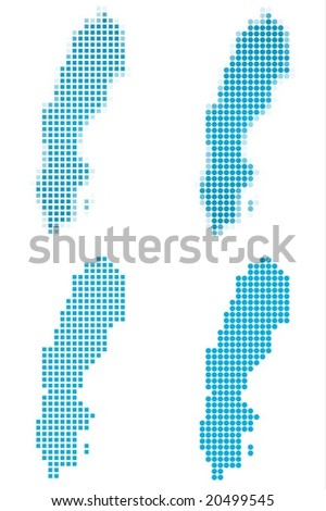 Sweden map mosaic set. Isolated on white background. - stock vector