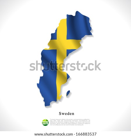 Sweden map with waving flag isolated against white background, vector illustration  - stock vector