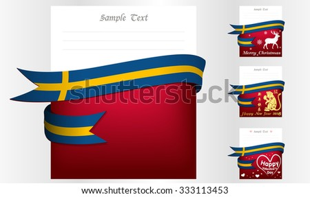 Sweden 's greeting card in big 3 festivals and their template vectors in eps10 - stock vector
