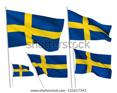 Sweden vector flags. A set of 5 wavy 3D flags created using gradient meshes - stock vector