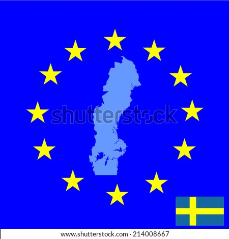 Sweden vector map isolated on EU background. High detailed silhouette illustration. Sweden flag and map vector.  - stock vector