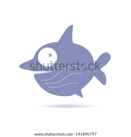 sweet and funny shark vector illustration - stock vector