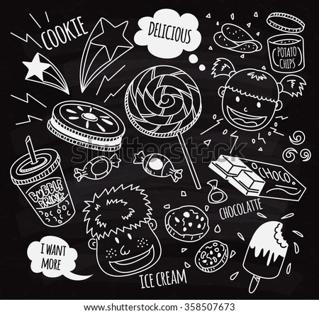Sweet and snack with happy kids doodle on chalk board - stock vector