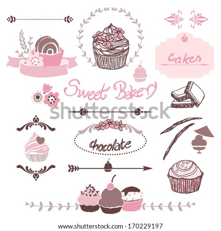 sweet bakery graphic elements - stock vector