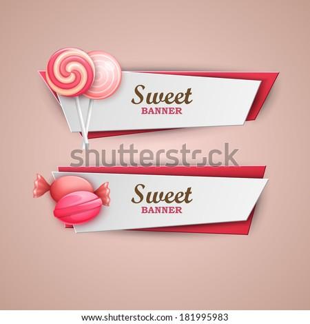 Sweet banners set  - stock vector