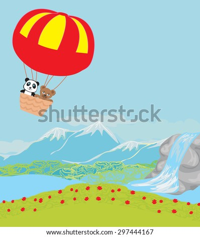 sweet Bears in an air balloon - stock vector