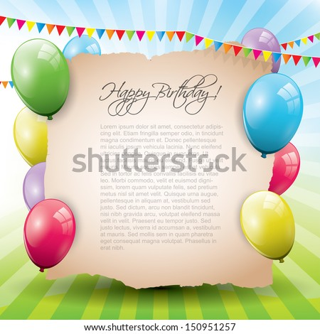 Sweet birthday background with empty paper  - stock vector
