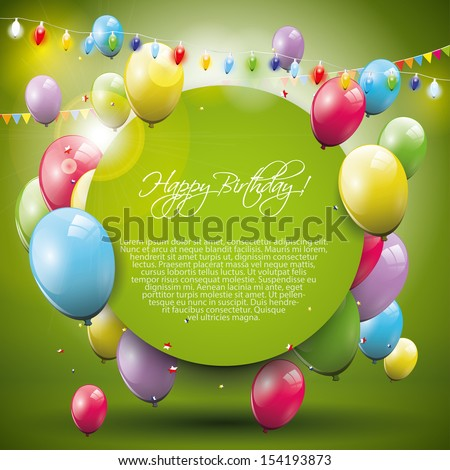 Sweet birthday background with flying balloons and place for text  - stock vector