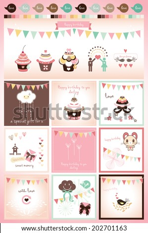 sweet birthday card design - stock vector