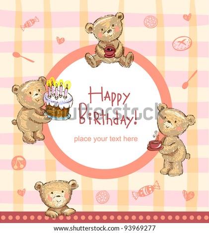 Sweet Birthday greetings - stock vector