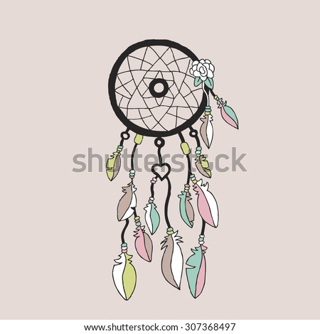 Sweet bohemian Indian summer dream catcher illustration with flowers and feathers poster cover template design in vector - stock vector