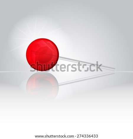 Sweet bright shiny lollipop candy on a smooth mirror surface with reflection  - stock vector