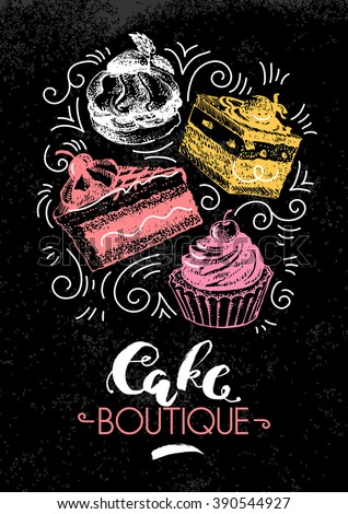 Sweet cakes pastry hand drawn vintage poster. Sketch and watercolor vector illustration. Advertising banner for bakery shop and cafe boutique - stock vector