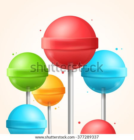 Sweet Candy Colorful Lollipops Background. Vector illustration - stock vector