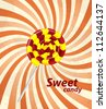 Sweet candy on retro background - stock vector