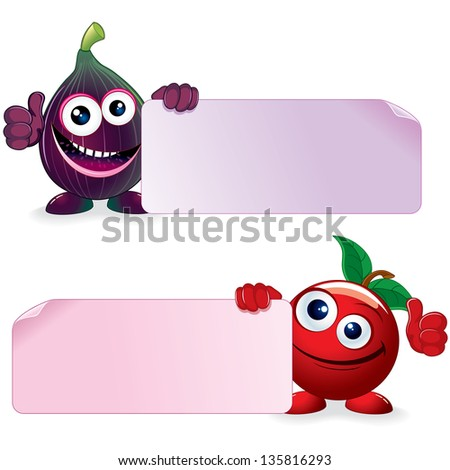 Sweet Cherry and Ripe Fig. Funny Fruits with Blank Sign. Vector Cartoon Illustration. - stock vector