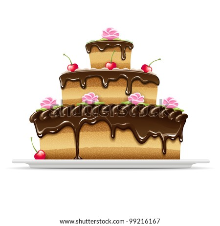 Sweet chocolate cake for birthday holiday. Vector illustration. Isolated on white background. EPS10 - stock vector