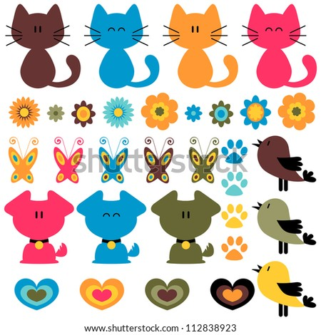 Sweet colorful childish elements set - stock vector