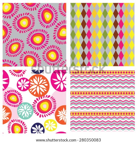 Sweet colorful geometric and floral seamless patterns set - stock vector