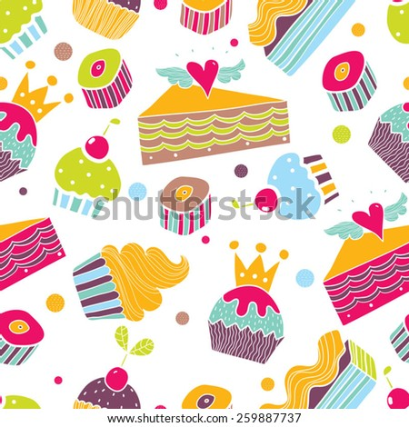 Sweet colorful seamless pattern. - stock vector