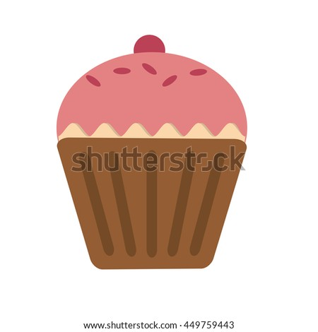 Sweet cup cake, food and dessert Isolated vector illustration - stock vector