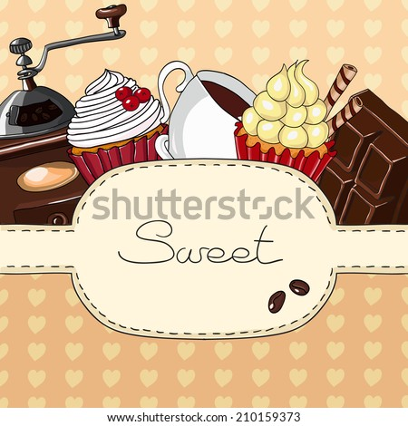Sweet cupcakes and cup of coffee. Hand drawn vector illustration. - stock vector