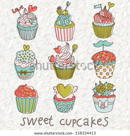 Sweet cupcakes in vintage vector set. Cartoon tasty cupcakes in bright colors - stock vector