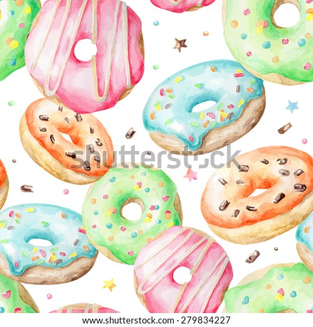 Sweet delicious watercolor pattern with donuts. Hand-drawn background. Vector illustration. - stock vector