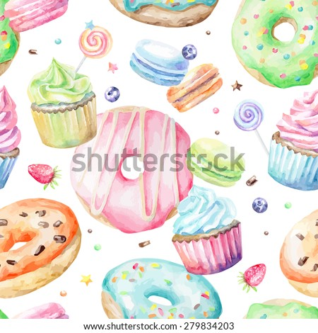 Sweet delicious watercolor pattern with macarons, cupcakes, donuts. Hand-drawn background. Vector illustration. - stock vector