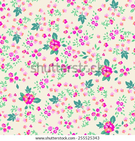 Sweet ditsy flowers ~ seamless background - stock vector