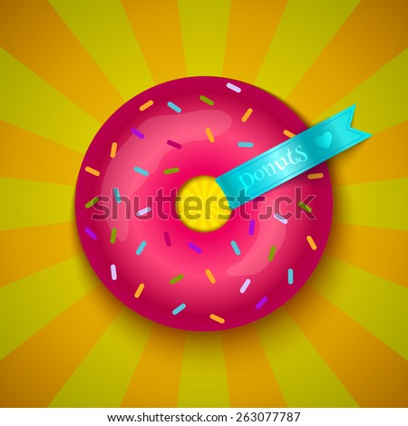 Sweet donut with blue ribbon on retro background - stock vector