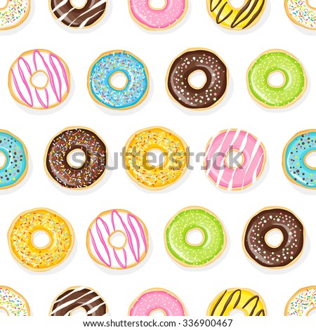Sweet donuts on the white background. Beautiful and tasty seamless pattern. - stock vector