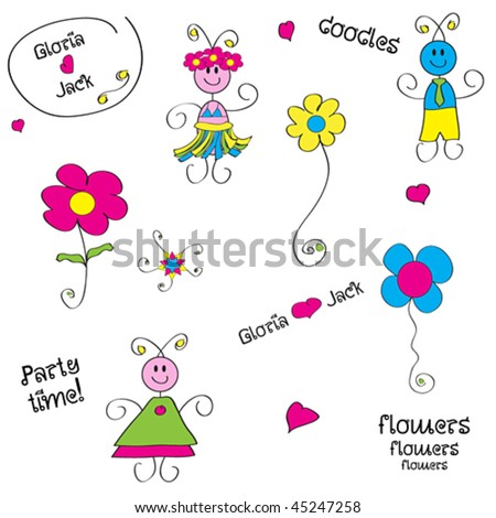 Sweet doodles - stock vector