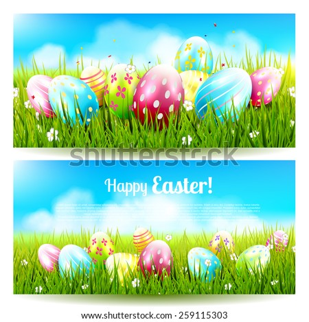 Sweet Easter banners with colorful eggs in the grass   - stock vector