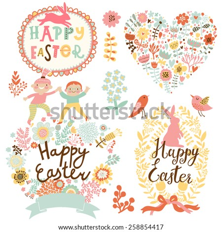 Sweet Easter concept set in vector. Bright holiday elements and signs in cartoon style: heart made flowers, rabbits, birds, boy and girl. Four lovely holiday cards - stock vector