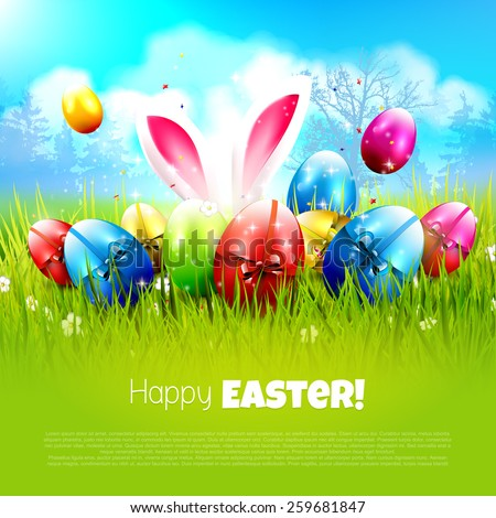 Sweet Easter greeting card with colorful eggs in the grass - stock vector