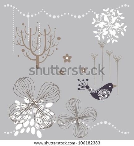 sweet floral garden design - stock vector