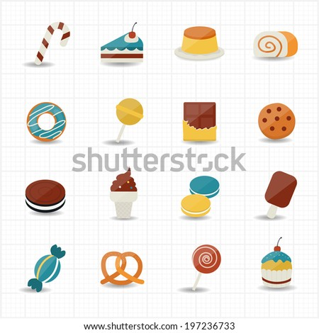 Sweet Food and Sweetmeat Icons - stock vector