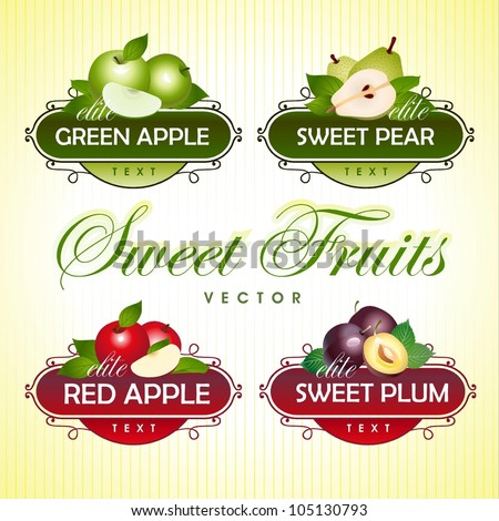 Sweet Fruits. Green apple, pear, red apple, plum - stock vector