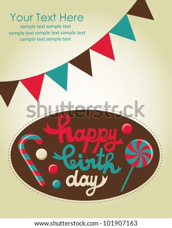 sweet happy birthday card. vector illustration - stock vector