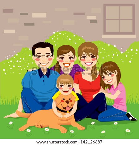 Sweet happy family posing together sitting in the backyard with their golden retriever dog - stock vector
