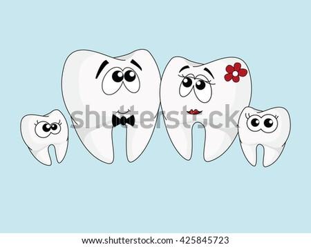 Sweet healthy teeth. Dentist illustration. Characters with eyes teeth for dental website. Happy teeth family. Vector illustration. - stock vector