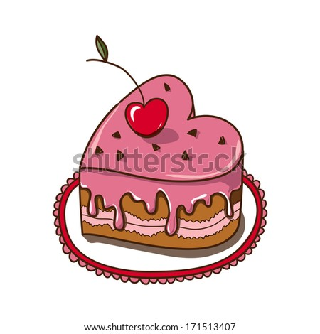 Sweet heart cake isolated on white. Sketch vector design element for Valentine's day - stock vector