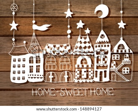 Sweet Home background white silhouette over wood. illustration, VECTOR - stock vector