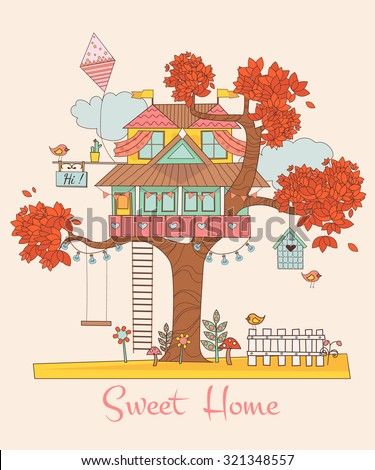 Sweet Home. Card with the Tree House. Background with cute birds and flowers. vector illustration - stock vector