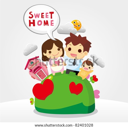 sweet home, family card - stock vector