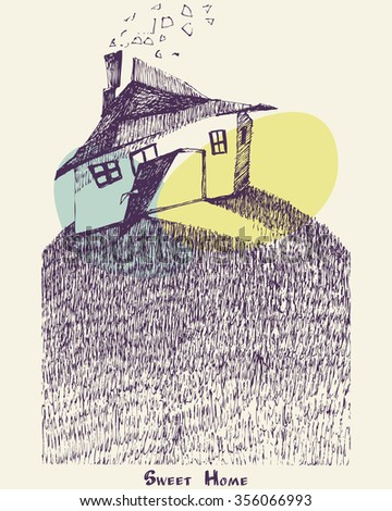 Sweet Home illustration with hand drawn houses for posters, greeting cards, flyers and banner, web designs. Anniversary, holiday, wedding, business, birthday, party invitations.  - stock vector