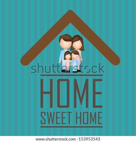 sweet home over blue background vector illustration   - stock vector