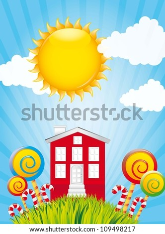 sweet home over landscape with grass and sky. vector illustration - stock vector