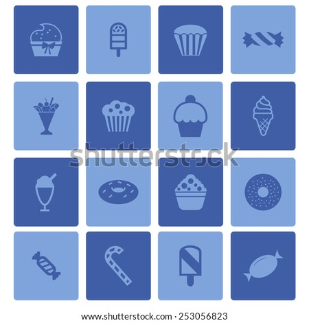 sweet icon set - stock vector